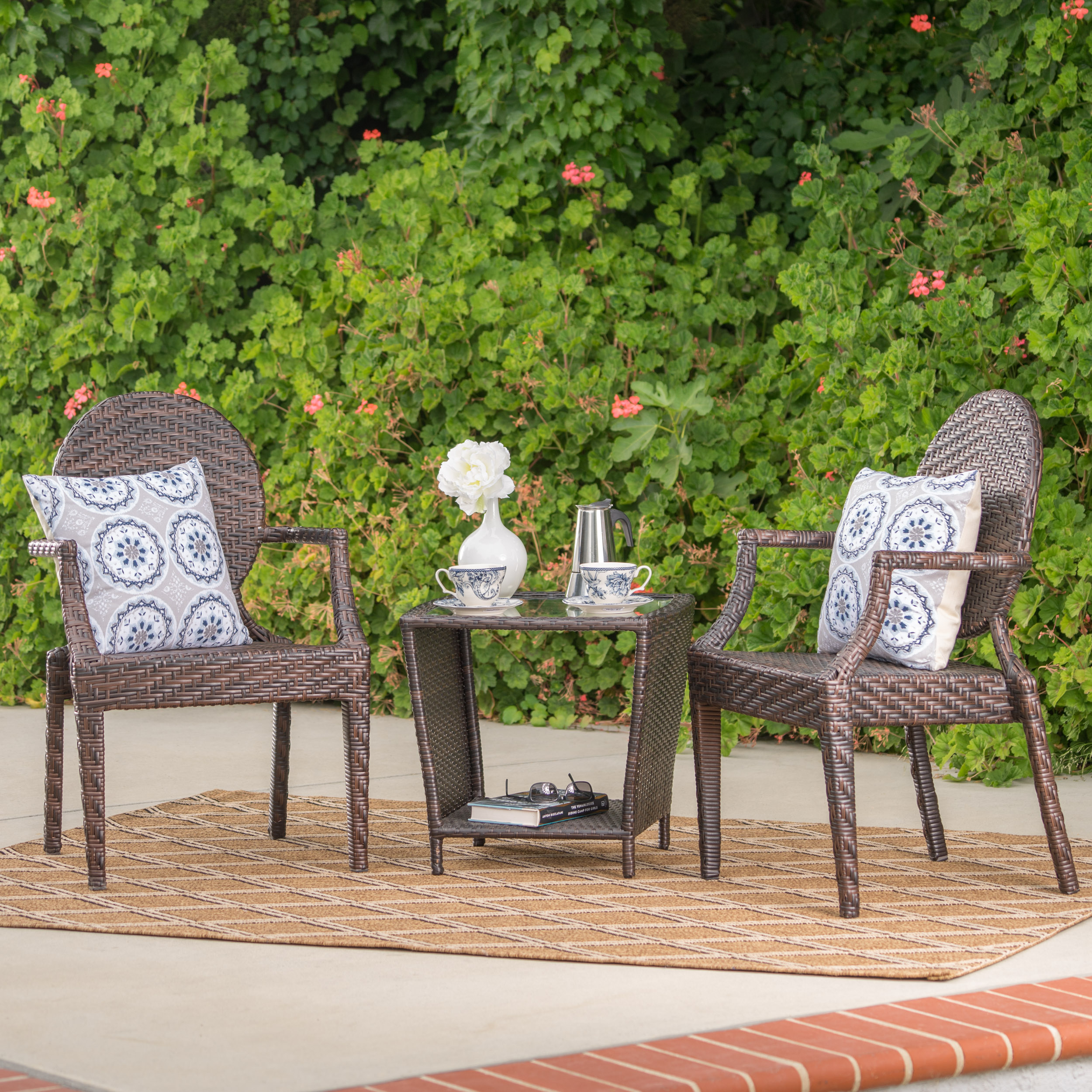 Pembrooke Outdoor 3 Piece Wicker Stacking Chair Chat Set, Multibrown