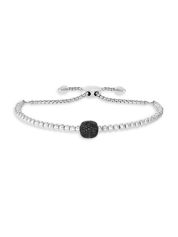 Sterling Silver & Black Diamond Slider Bracelet