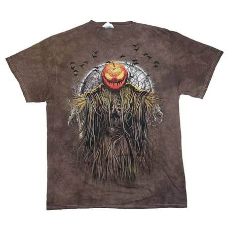 Happy Halloween Mens Brown Scary Pumpkin Head Graphic T-Shirt