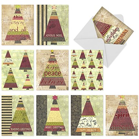 'M6038 M6038 Tree-Angles' 10 Assorted All Occasions Greeting Cards Featuring Illustrated Christmas Trees With Holiday Words And Messages In A Folk-Art-Inspired Collage-Like Style with Envelopes by The](Halloween Greetings Words)