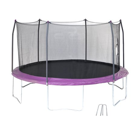 Skywalker Trampolines 14-Foot Trampoline, with Wind Stakes, Purple