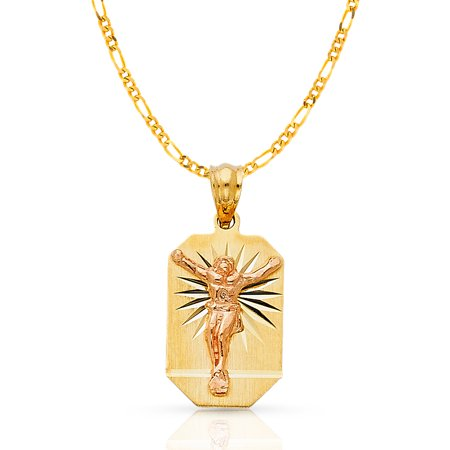 14K Two Tone Gold Crucifix Stamp Charm Pendant with 2.3mm Figaro 3+1 Chain Necklace - 18""