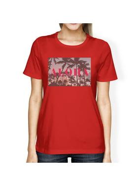 421de468698fb3 Product Image Aloha Hawaii Theme Womens Red Crewneck Short Sleeve Tee  Summer Top. 365 Printing