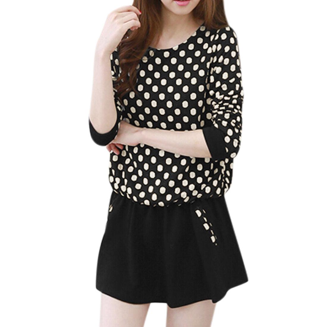 Ladies Pullover Long Sleeves Polka Dots Prints Dress Black XS