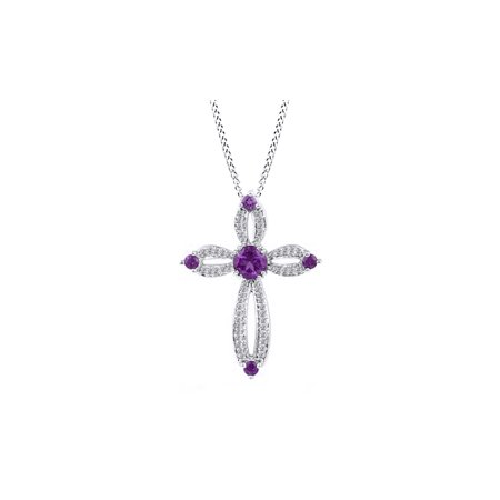 Simulated Amethyst Cz And Diamond Cross Pendant In 14K White Gold Over Sterling Silver  1 5 Cttw