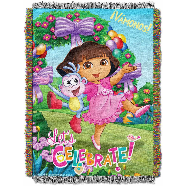 "Nickelodeon Dora the Explorer ""Celebrate Dora"" 48"" x 60"" Woven Tapestry Throw"