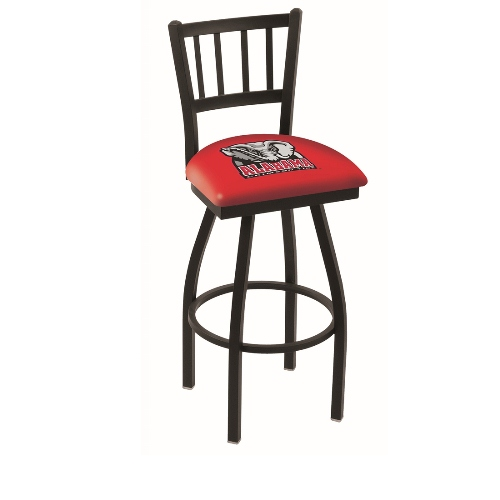 NCAA Swivel Stool with Jailhouse-Style Back by Holland Bar Stool, 25'' - University of Alabama Head