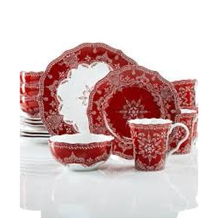222 Fifth Holiday Winter Lace Red White Soup Cereal Bowls Set of 4 Holiday Entertaining Set
