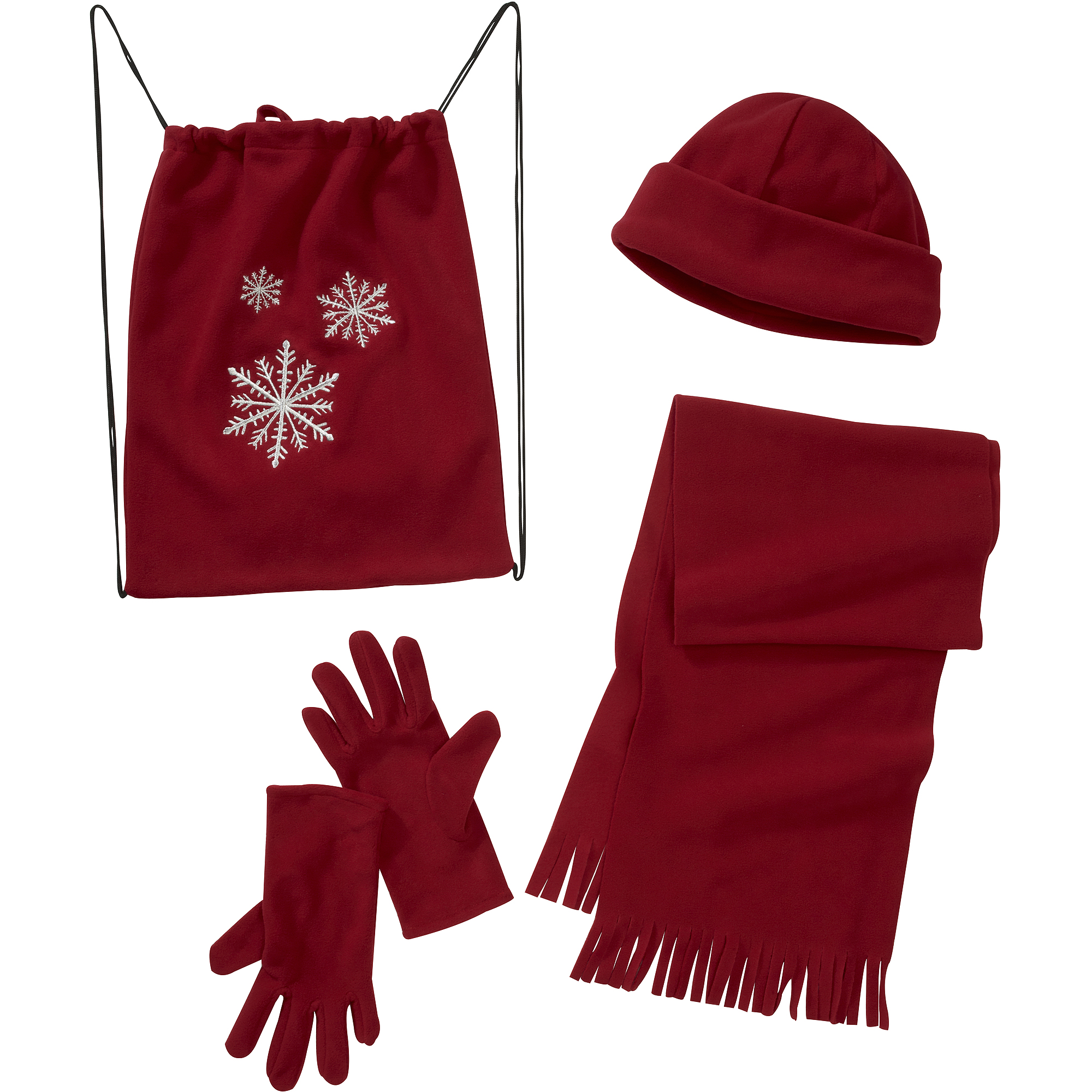 Women's 4-Piece Bag, Hat, Scarf and Gloves Fleece Gift Set