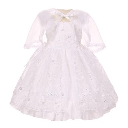 Little Girls White Embroidered Sequins Bolero Baptism Christening Dress 2-4