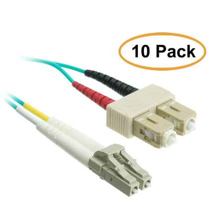 ACCL 9.84ft (3 Meter) LC to SC 10 Gigabit Aqua Fiber Optic Cable, Multimode, Duplex, 50/125, 10pk