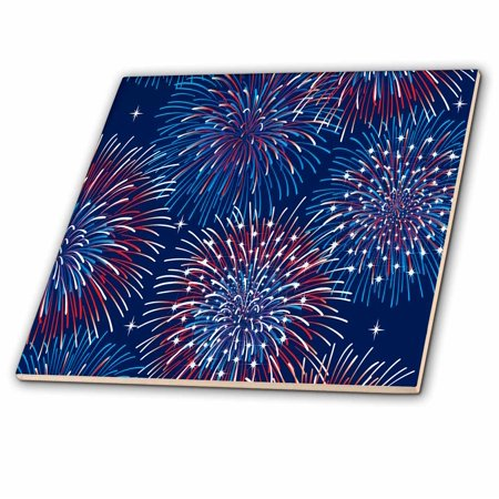 3dRose Bursting Red, White, and Blue Fireworks Design - Ceramic Tile, 4-inch