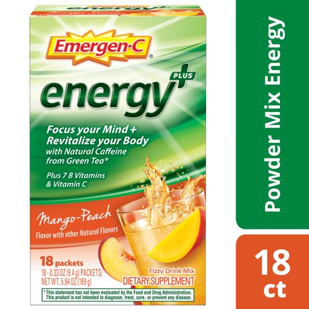 Emergen-C Energy+ Vitamin C Drink Mix, Mango-Peach, 250mg, 18 Ct (Super C Energy Drink Mix)