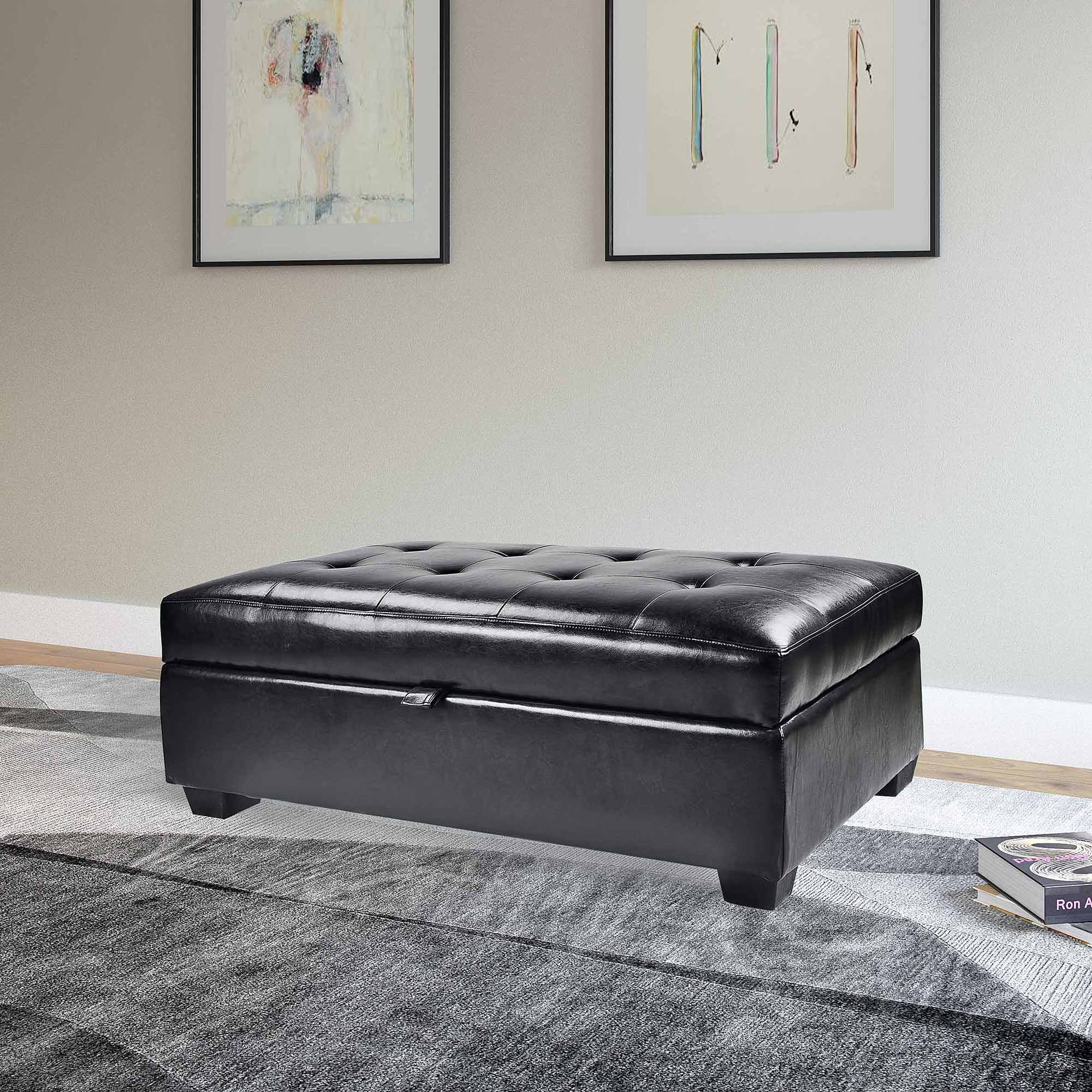 CorLiving Antonio Bonded Leather Storage Ottoman - Walmart.com