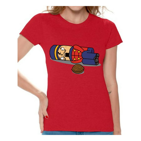 awkward styles awkward styles nutcracker ugly christmas t shirt funny christmas shirts for women christmas nutcracker shirt xmas womens holiday top for