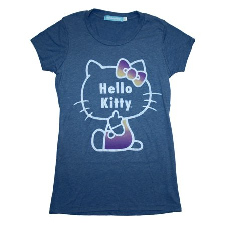 Hello Kitty Sanrio Daybreak Glitter Outline Soft Juniors Babydoll T-Shirt Tee