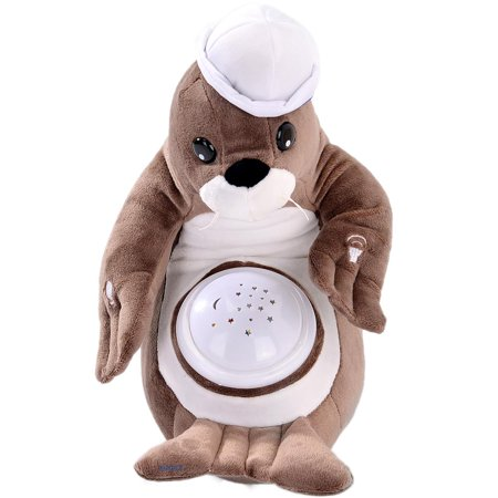 Sally Seal Nightlight Soother with Favorite Lullabies Nature Sounds and Projecting Stars & Moon Light by Dimple