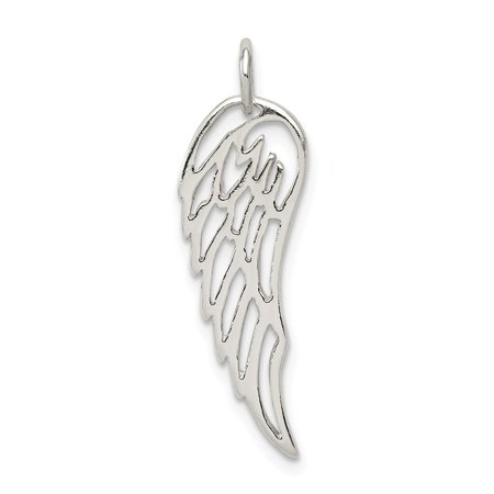 Angel Clasp Charm - Sterling Silver Polished Angel Wing Charm