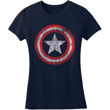 Captain America  Distressed Shield Girls Jr Soft Tee Navy - Captain America Girls