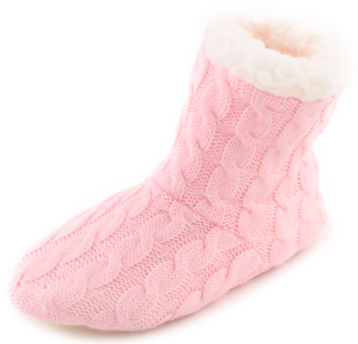 Women's Casual Fashion Cable Knit Slip Plush Rubber Sole No Slip Knit House Slipper Pink | White Womens Small/medium (25cm) 67fcaa