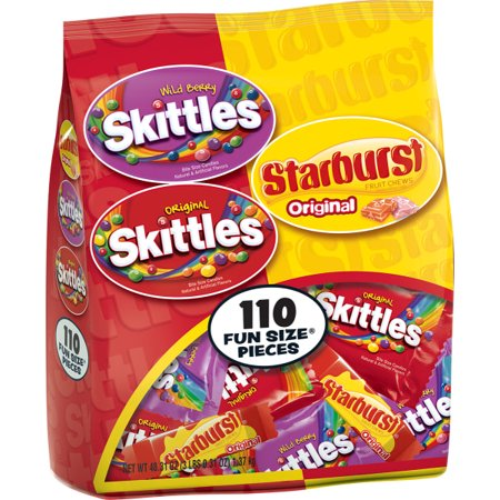 Skittles and Starburst Halloween Candy Bag, 110 Fun Size Pieces, 48.31 ounces