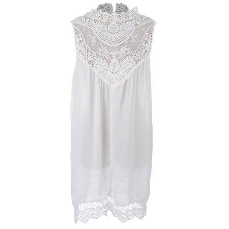 S/M Fit White Antique Look Lace Yoke and Hem Lingerie Style Dress](Antique Dress)