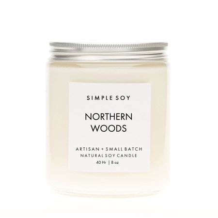 Simple Soy Natural Scented Soy Candle, Northern Woods Mantle, 8 oz
