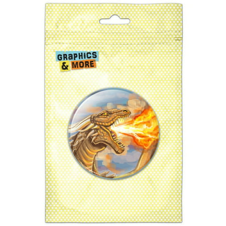 Dragon Breathing Fire Gold Fantasy Pinback Button Pin - Fire Department Badges And Pins