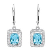 Sterling Silver Blue Topaz and Diamond Accent Earrings