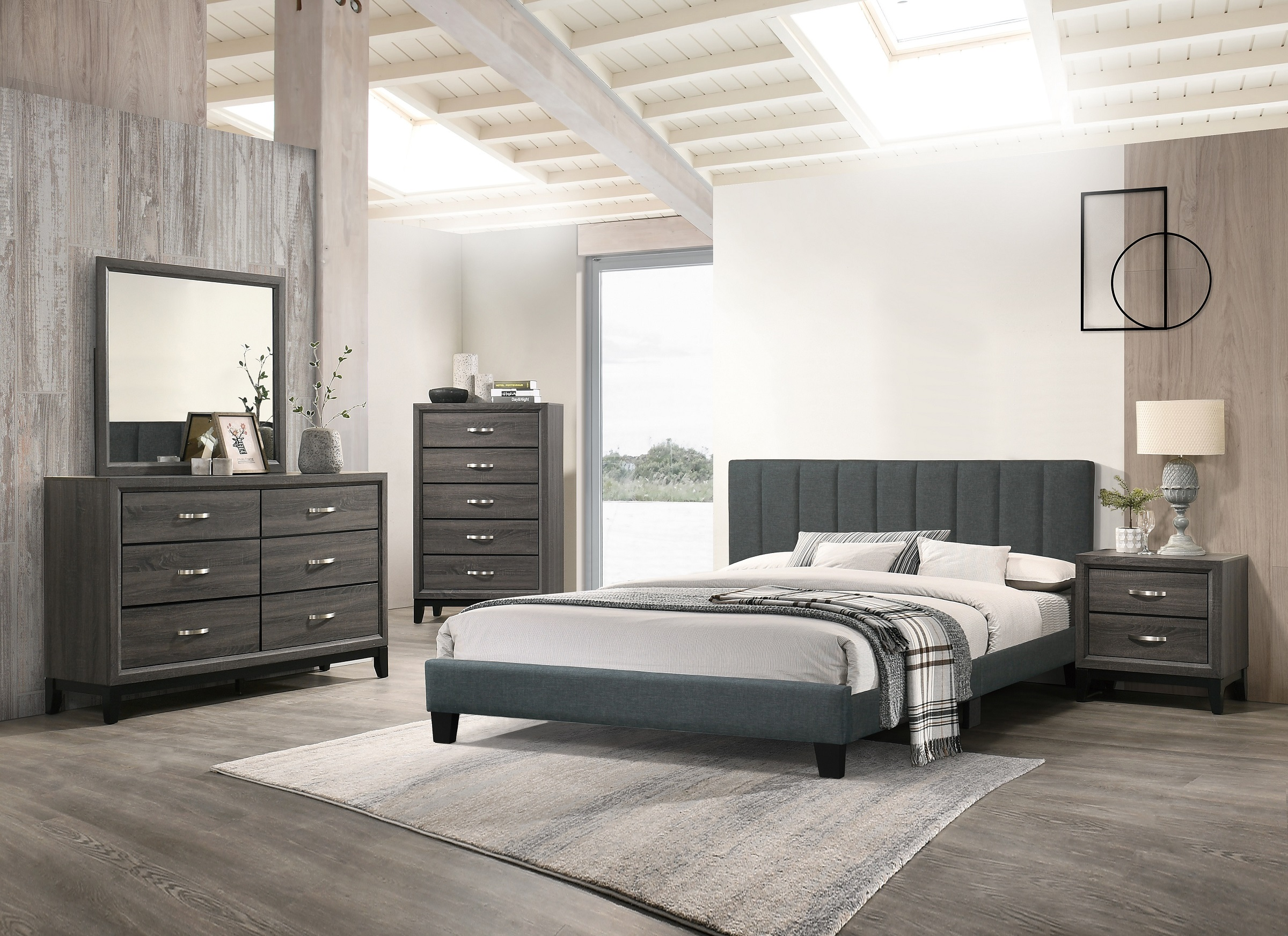 Modern Simple Bedroom Furniture 4pc Set Charcoal Queen ...