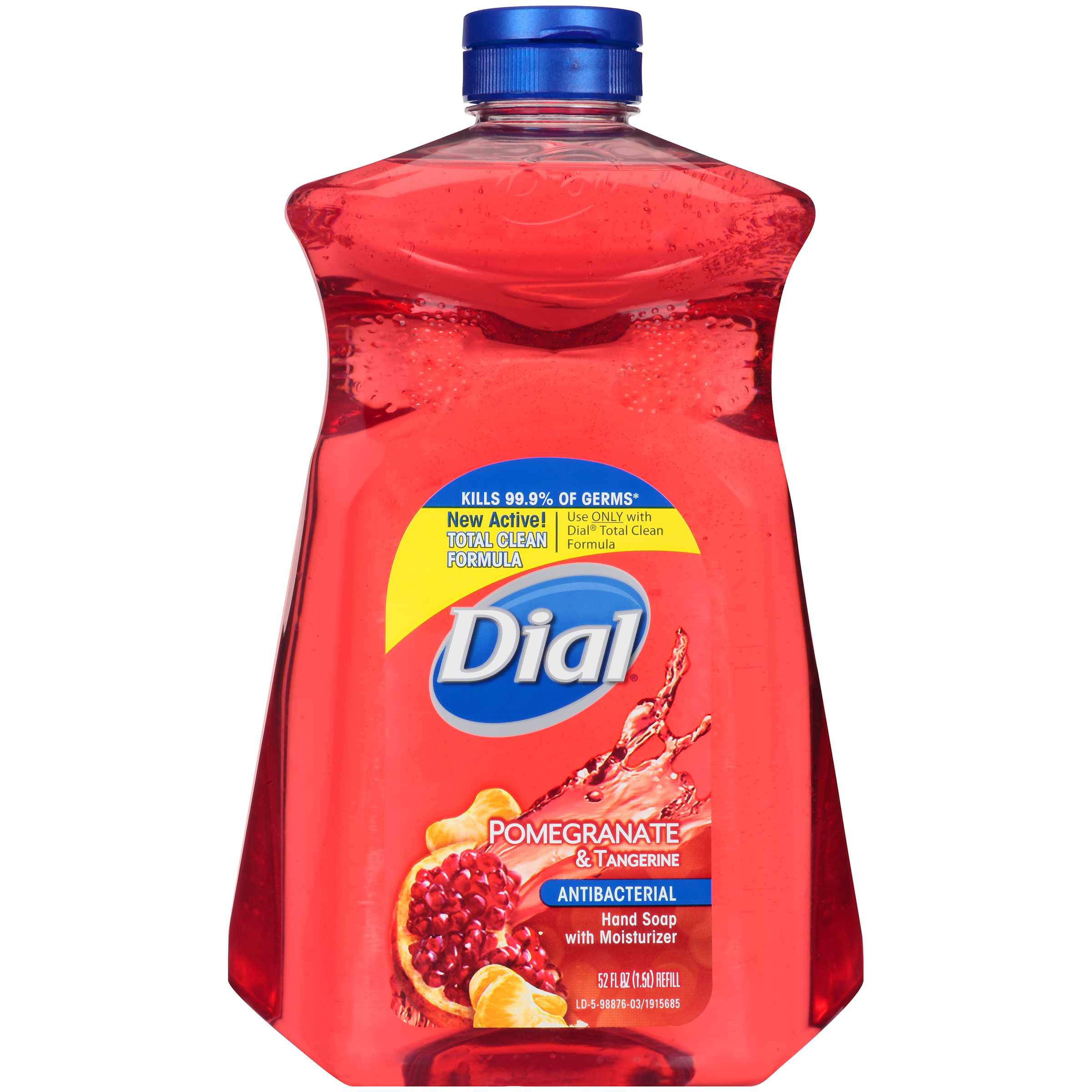 Dial Antibacterial Liquid Hand Soap with Moisturizer Refill, Pomegranate & Tangerine, 52 Ounce