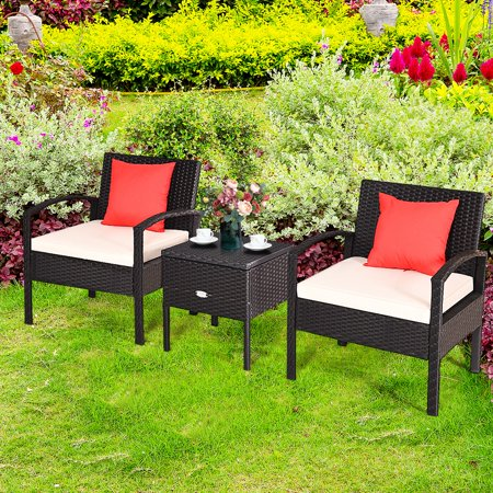 Gymax 3PCS Rattan Patio Conversation Set Outdoor Furniture Set w/ Storage Table