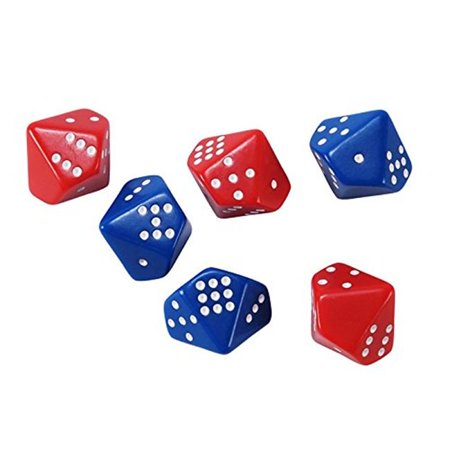 Learning Advantage CTU7399 Subitizing Dice, 3 Red - 3 Blue - Set of 6