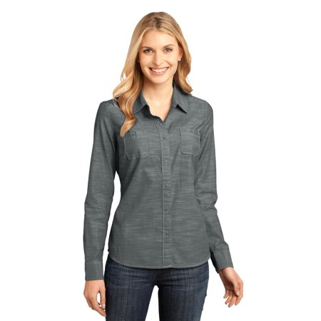 District Made® - Ladies Long Sleeve Washed Woven Shirt. Dm4800 Grey S - image 1 de 1