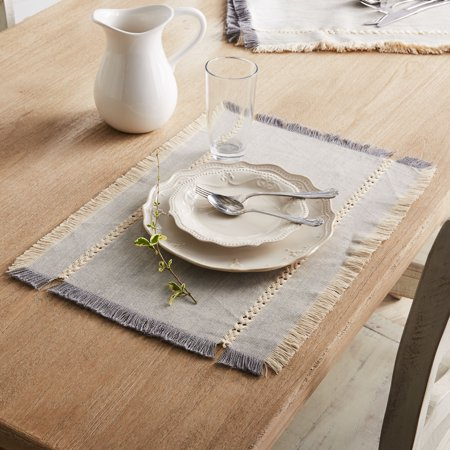 Better Homes & Gardens Woven Placemat with Fringe, Gray, 4 Count ()