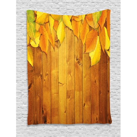 Fall Decor Tapestry, Colorful Vivid Seasonal Leaves Wooden Planks Natural Design Rustic Home, Wall Hanging for Bedroom Living Room Dorm Decor, 60W X 80L Inches, Yellow Orange Green, by Ambesonne
