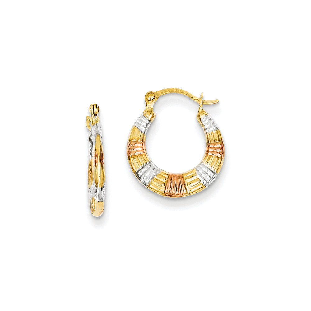 14k Yellow Gold & White and Rose Rhodium Hollow Textured 0.4IN Hoop Earrings (0.6IN x 0.5IN )