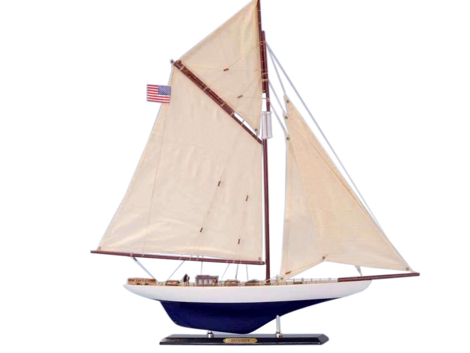 "Defender Limited 25"" Sailboat Decoration Model Boat Wooden Model Sailing Boat Model Yacht J Class Yacht Not a Model Ship Kit by Handcrafted Nautical Decor"