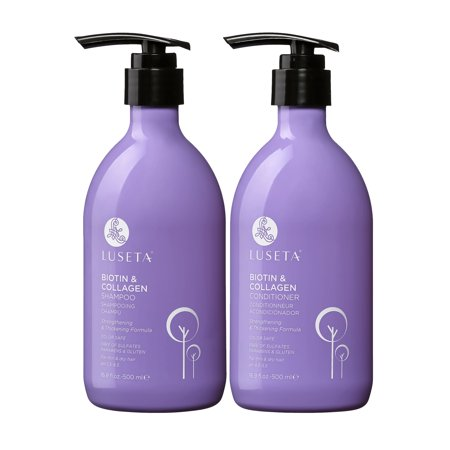 Luseta Biotin & Collagen Shampoo & Conditioner Set 2 x 16.9oz - Thickening for Hair Loss & Fast Hair Growth - Infused with Argan Oil to Repair Damaged Dry Hair - Sulfate Free Paraben