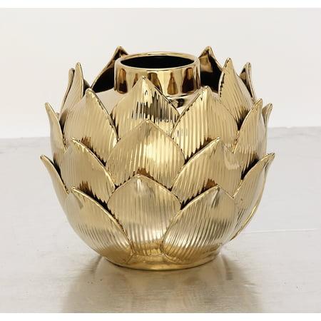 Decmode Modern 9 X 12 Inch Porcelain Petal Vase 9 Inch Round Porcelain