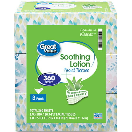 Great Value Lotion Soothing Facial Tissues, 360 Sheets, 3 pack