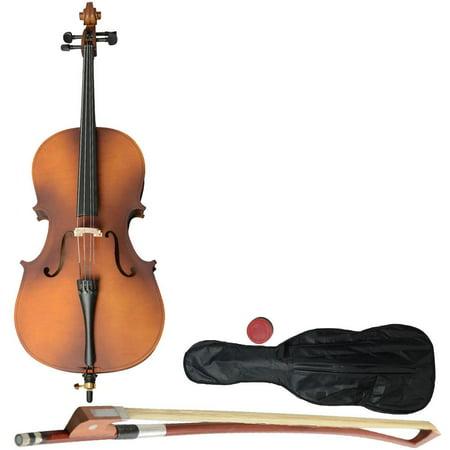 Ktaxon Wood Color 1/2 1/4 3/4 4/4 Size Matt BassWood Cello with Bag, Bow, Rosin, Bridge