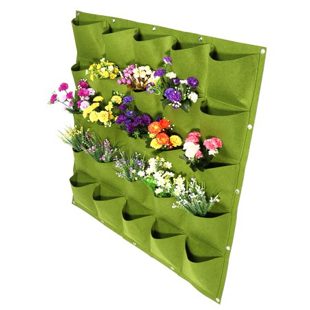 Greensen 25 Pockets Outdoor Garden Vertical Planting Bag Wall Hanging Flower Growing Container (Green),Plant Grow Bag, Plant Grow Container - image 2 of 6