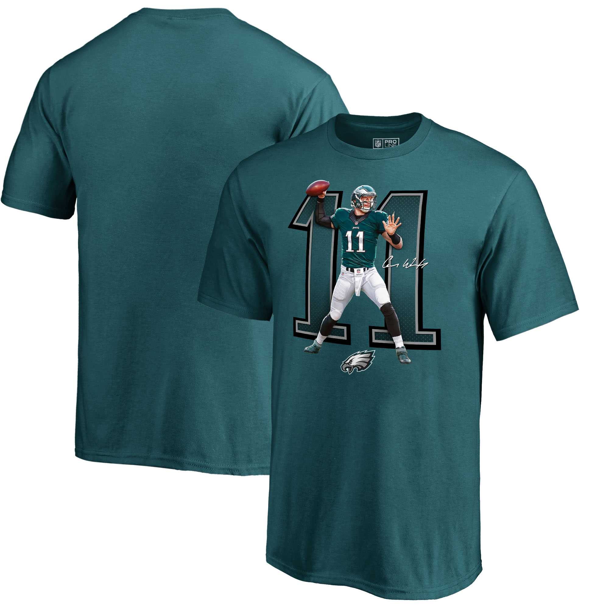 Carson Wentz Philadelphia Eagles NFL Pro Line by Fanatics Branded Power House Player Name & Number T-Shirt - Midnight Green