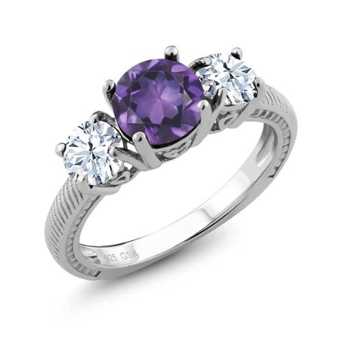 2.60 Ct Round Purple Amethyst 925 Sterling Silver Ring