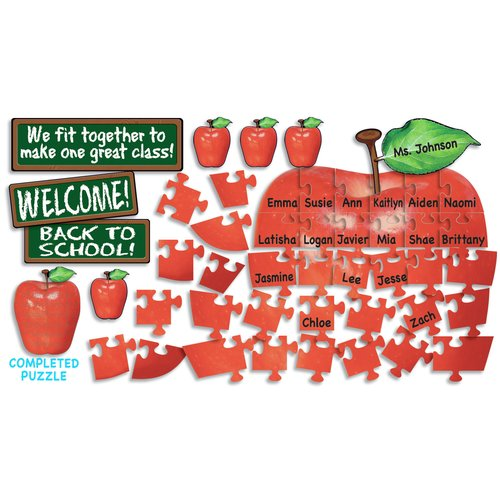 Teachers Friend Welcome Apple Puzzle Guide Bulletin Board Cut Out