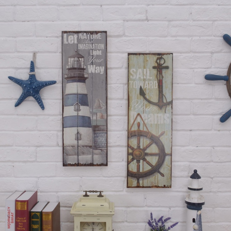 1 Piece Nautical Lighthouse Anchor Wooden Sign Plaque Shabby Chic Wall Mounted Home Bar Decor by