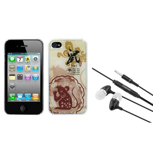 Insten Rat-Chinese Zodiac Collection Dream Back Case For iPhone 4 4S + 3.5mm Headset