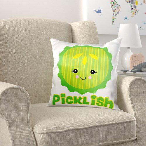 Zoomie Kids Broom Cute Kawaii Picklish Pickle Slice Pillow Cover