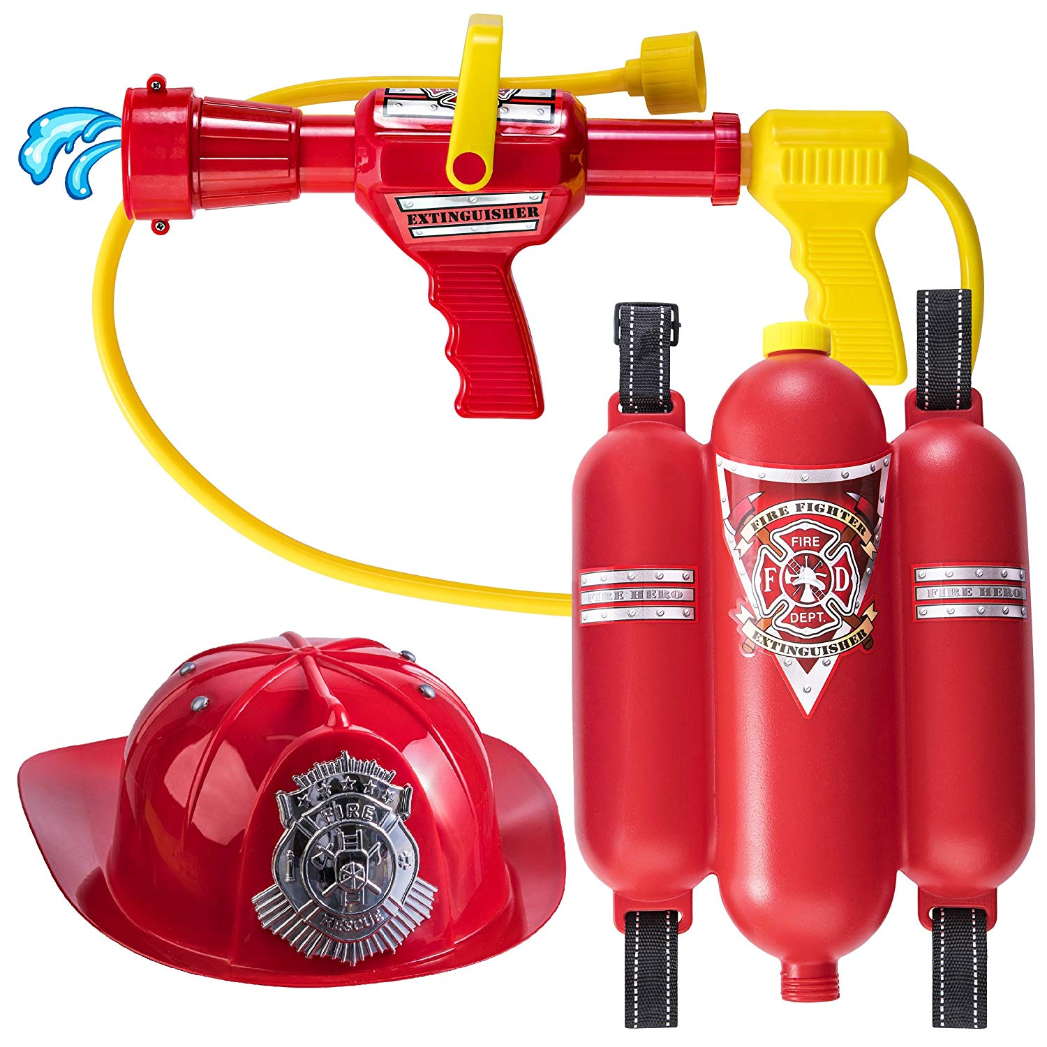 Prextex Fireman Backpack Water Gun Blaster with Fire Hat- Water Gun Beach Toy and Outdoor Sports Toy by Prextex